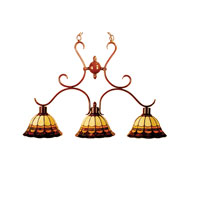 Dale Tiffany Chain Malcolm 3 Light Hanging Fixture in Antique Brown TH100741