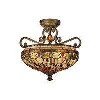 Dragonfly 2 Light 17 inch Antique Golden Sand Semi-Flush Mount Ceiling Light