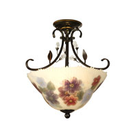 Dale Tiffany Cosmos Handpainted Semi Flush Mount 2 Light in Antique Golden Sand TH10492
