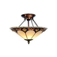 Dale Tiffany Crystal Pebblestone Flush Mount 2 Light in Antique Bronze TH10493