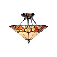 Dale Tiffany Dragonfly Agate 2 Light Semi-Flush Mount in Antique Bronze TH10501
