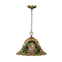 Dale Tiffany Triple Rose Tiffany Hanging Fixture 1 Light in Antique Brass TH10506 photo thumbnail