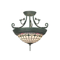 Dale Tiffany Diamond Edge Tiffany Hanging Fixture 4 Light in Verdigris TH10962