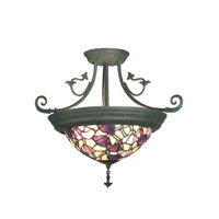 Pink Floral 4 Light 17 inch Verdigris Hanging Fixture Ceiling Light