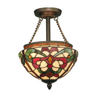 Dale Tiffany Baroque Semi Flush Mount 2 Light in Antique Golden Sand TH11198