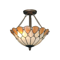 Scalloped Jeweled 2 Light 14 inch Antique Bronze Paint Semi Flush Mount Ceiling Light