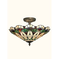 Dale Tiffany Peacock Tiffany Semi Flush Mount 3 Light in Antique Bronze Paint TH12063 photo thumbnail