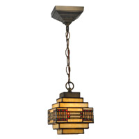 Dale Tiffany Cube Mission Pendant - Small 1 Light in Dark Antique Brass TH12071