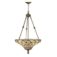 Dale Tiffany Buckminister Inverted Hanging Fixture 3 Light in Antique Brass Plating TH12075