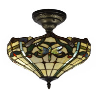 Dale Tiffany TH12151 Cabrini 2 Light 14 inch Antique Bronze Semi Flush Mount Ceiling Light
