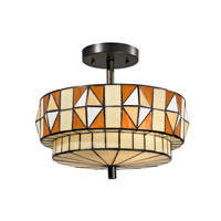 Dale Tiffany Wescott 2 Light Flush Mount in Dark Bronze TH12397