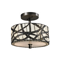 Dale Tiffany Willow 2 Light Semi Flush Mount in Dark Bronze TH12413