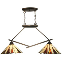 Dale Tiffany TH12435 Ripley 2 Light 36 inch Copper Bronze Island Light Ceiling Light