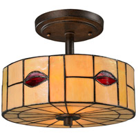 Dale Tiffany Fantom 2 Light Semi Flush Mount in Rustic Bronze TH12448