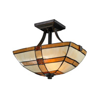 Dale Tiffany Brisdol 2 Light Semi Flush Mount in Dark Bronze TH12455