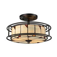Dale Tiffany Woodbury 3 Light Semi Flush Mount in Dark Bronze TH12456