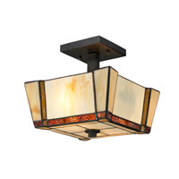 Dale Tiffany Paragon 2 Light Semi Flush Mount in Dark Bronze TH12457