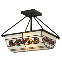 Dale Tiffany Cupertino 2 Light Semi Flush Mount in Matte Coffee Black TH12461