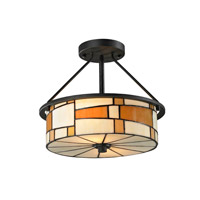 Dale Tiffany Portola 2 Light Semi Flush Mount in Matte Coffee Black TH12462