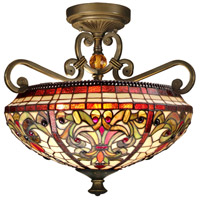 Baroque 2 Light 17 inch Antique Golden Sand Semi Flush Mount Ceiling Light