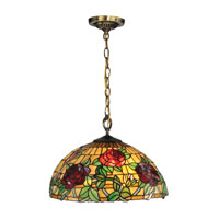 Dale Tiffany Rosewood 1 Light Pendant in Antique Brass TH13112