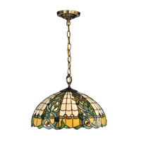 Dale Tiffany Asure 3 Light Pendant in Antique Brass TH13113