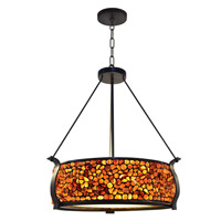 Pebble Stone 3 Light 21 inch Dark Bronze Pendant Ceiling Light