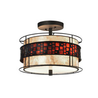 Cobblestone 2 Light 14 inch Dark Bronze Flush Mount Ceiling Light