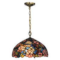Floral 1 Light 16 inch Tiffany Bronze Pendant Ceiling Light