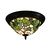 Tiffany 2 Light 15 inch Tiffany Bronze Flush Mount Ceiling Light