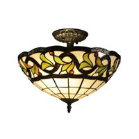 Reveli 2 Light 14 inch Tiffany Bronze Flush Mount Ceiling Light