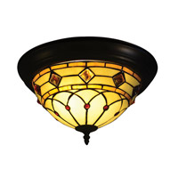 Dale Tiffany TH14260 Ginger 2 Light 15 inch Tiffany Bronze Flush Mount Ceiling Light