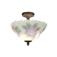 Dragonfly 3 Light 14 inch Antique Brass Flush Mount Ceiling Light