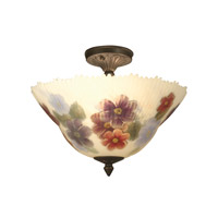 Dale Tiffany TH15047 Dragonfly 3 Light 14 inch Antique Brass Flush Mount Ceiling Light