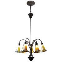Lily 7 Light 24 inch Antique Bronze/Verde Pendant Ceiling Light