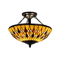 Ginger 3 Light 16 inch Antique Brass Flush Mount Ceiling Light