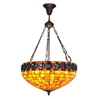 Turtleback 3 Light 20 inch Antique Bronze Inverted Pendant Ceiling Light