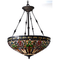 Fire Opal 3 Light 22 inch Tiffany Bronze Inverted Hanging Fixture Ceiling Light