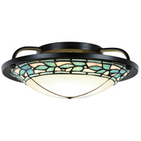 Dale Tiffany TH15475LED Green Leaves LED 14 inch Tiffany Bronze Semi-Flush Mount Ceiling Light