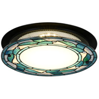 Green Leaves LED 15 inch Tiffany Bronze Flush Mount Ceiling Light, Round
