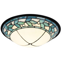 Green Leaves LED 15 inch Tiffany Bronze Flush Mount Ceiling Light, Dome