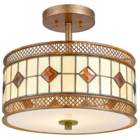 Dale Tiffany TH17022 Minerals 2 Light 14 inch Rustic Bronze Semi-Flush Mount Ceiling Light