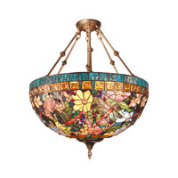 Tiffany 3 Light 24 inch Antique Brass  Hanging Fixture Ceiling Light