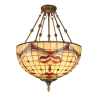 Dale Tiffany Baroque Art Glass Pendant 3 Light in Antique Brass Plating TH60098