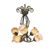 Dale Tiffany Richmond Tulip 6 Light Chandelier in Antique Brass TH60357