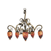 Dale Tiffany Albany 5 Light Chandelier in Antique Brass TH60358