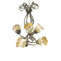 Dale Tiffany Windsor Tulip 6 Light Chandelier in Antique Brass TH70043 photo thumbnail