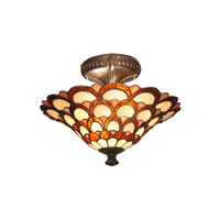 Peacock 2 Light 15 inch Fieldstone Semi Flush Mount Ceiling Light