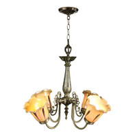 Columbus Tulip Art Glass 4 Light 22 inch Antique Brass Hanging Fixture Ceiling Light