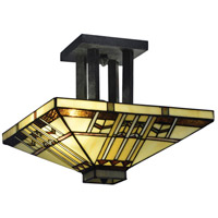 Dale Tiffany TH70332 San Carlos 2 Light 14 inch Antique Bronze Semi Flush Mount Ceiling Light
